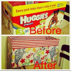 My DIY storage bin! Diaper box, Fabric and fabri-tac so cheap and so easy!