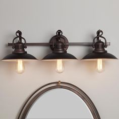 Station Lantern Bath Light - 3 Light This contemporary adaptation of nostalgic hanging station lanterns is detailed with twisted handles and vented housings for a bath light with both vintage and modern appeal in a burnished Bronze finish. 3-100watt medium bulbs. Damp rated.