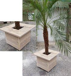 Handig! Plantenbak en bijzettafel in  van gebruikt steigerhout