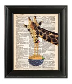 GIRAFFE Art Print Eating Noodles Spaghetti Funny Animal Illustration Foodie Gourmet Kitchen Poster, Vintage Dictionary Book Page decor Giraffe Party, Giraffe Print, Funny Giraffe, Cupcake Art, Dictionary Art, Fish Art, Illustrations And Posters, Painting Inspiration, Original Art