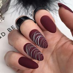 Spider Gel Nails - 100 Nice Ideas and 3 DIY Instructions! - dark red nail polish matt # nails design You are in the right p - Nail Lacquer, Nail Polish, Nails Factory, Matte Acrylic Nails, Dark Red Nails, Burgundy Nails, Uñas Fashion, Fashion Images, Fashion Ideas