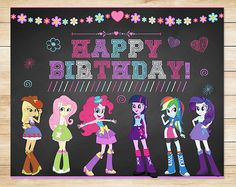 Equestria Girls My Little Pony Birthday Sign by ApothecaryTables
