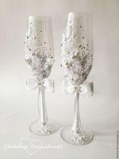 """Wedding glasses / Свадебные аксессуары ручной работы. Ярмарка Мастеров - ручная работа. Купить Свадебный набор   """"Нежное кружево. Handmade. Бежевый"""