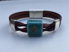 Twisted Leather & Porcelain Bracelet by TBeadsGlass on Etsy