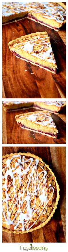 Cherry Bakewell Tart Recipe - a classic British tart; top a shortcrust pastry case with cherry jam, spoon over a layer of frangipane and finish with flaked almonds and a generous drizzle of simple white icing. And it's not as difficult as it looks!