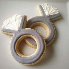 Engagement Ring Cookies / Diamond Ring Cookies by BitesBakedGoods, $33.00