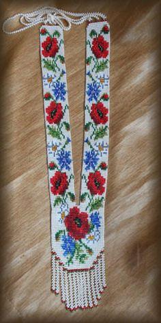 Ukraine Gerdan Ukrainian Long Necklace B - Diy Crafts Beaded Necklace Patterns, Seed Bead Patterns, Beading Patterns, Bead Loom Bracelets, Woven Bracelets, Seed Bead Jewelry, Beaded Jewelry, Beige Necklaces, Loom Beading