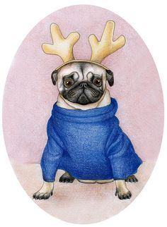 christmas pug portrait :)