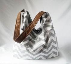Grey Chevron Hobo  Zig zag handbag with Brown vegan by ACAmour, $40.00