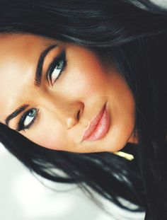 Megan Fox~ same hair/ eye color as me. Mine get more green at times. Love her liner!