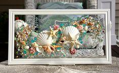Sea Glass Art for Beach Decor, Seashell Wall Art for Nautical bathroom, Beach Home Decor Wall Hanging, Coastal Decor, Beach House Decor Sea Glass Mosaic, Sea Glass Art, Water Glass, Stained Glass, Seashell Art, Seashell Crafts, Beach Crafts, Coastal Wall Art, Coastal Decor