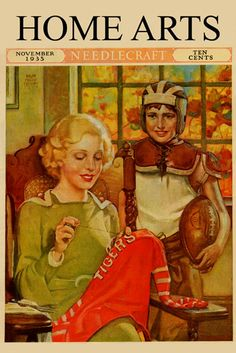 Mother and Son's Football Jersey - Home Arts November 1935, by Ralph Pallen Coleman