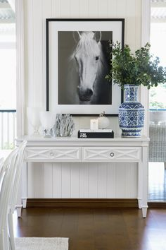 Leilani Ryder | Interior Decorating & Styling | Modern Hamptons Style Living | Console Styling | Horse Photo