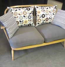 Vintage retro 2 seater Ercol sofa settee chair scandinavian Hus and Hem fabric
