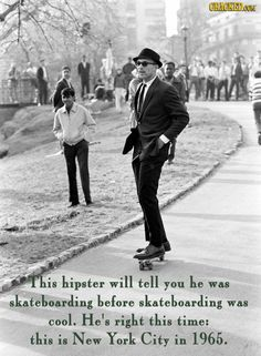 A man in a suit and sunglasses rides a skateboard down a hill path in Central Park, New York City. Photo by Bill Eppridge. Harrison Ford, Vintage Photography, Street Photography, Night Photography, Photo New, Beastie Boys, Robert Redford, Foto Art, Sophia Loren