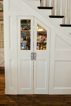 Glamorous Custom Kitchen Pantry under Stairs Kitchen Pantry, Rustic Kitchen, Kitchen Storage, Pantry Storage, Kitchen Decor, Basement Storage, Country Kitchen, Kitchen Ideas, Cabinet Storage