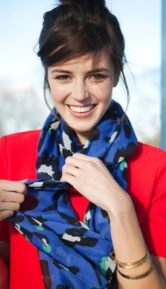 Giant Leopard Print Scarf in blue