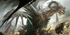 Zhaitan the dragon concept art from Guild Wars 2. A dragon that has smaller dragon heads coming out of its mouth, that in turn breath zombies. Yeah, he's pretty metal.