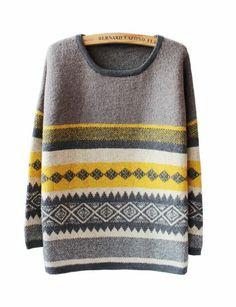 Grey Contrast Yellow Long Sleeve Geometric Pattern Sweater