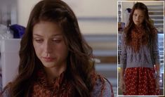 Marley's red polka dot skirt, blue sheer sweater and orange scarf on Glee.  Outfit Details: http://wornontv.net/8964/ #Glee #Fox
