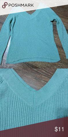 New york & company sparkly sweater V front and back, more of a turquoise New York & Company Sweaters V-Necks