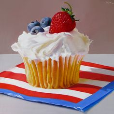 Paintings by Oriana Kacicek: Red, White and Blue Cupcake