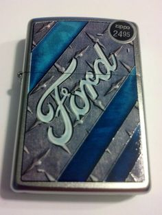2014 New Design Ford Blue Stripes Satin Chrome Windproof Zippo Lighter #28626