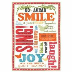 Word Art Decor   Beauty Smile Funky Words Stretched Canvas Wall Art by Sharyn Sowell