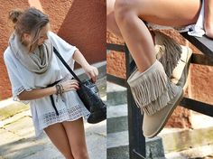 simple, boho chic. I want that dress!! And never thought I would but those boots too!