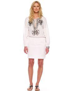 MICHAEL Michael Kors  Embellished Peasant Dress