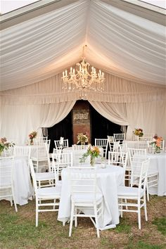 Outdoor marquee wedding