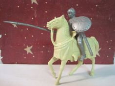 MARX ROBIN HOOD CASTLE PLAYSET 1950s CREAM HORSE KNIGHT 60MM PLASTIC TOY SOLDIER #MARX