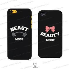 Beauty and Beast Mode Couples Matching Phone Cases for iphone 4 4S 5 5C Galaxy S3 S4 S5 - Cute Matching Covers for Couples on Etsy, $14.99