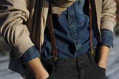 leather suspenders on denim