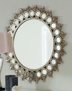 Зеркало - солнце, арт. 05125 Седрик, серебро, 111см х 111см