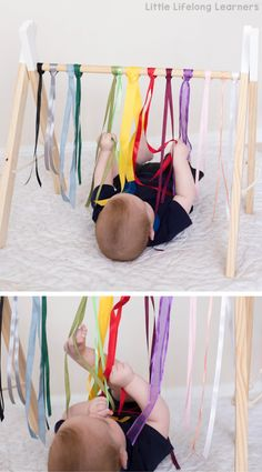Sensory play ideas for babies rainbow ribbon baby play newborn, baby play idea activities for playing with your baby 3 month old 6 month old learning at home exploring touch, feel, taste, small and sound exploring the 5 senses Baby Sensory Play, Baby Play, Baby Sensory Ideas 3 Months, Diy Baby Toys 6 Months, Sensory For Babies, Infant Activities, Activities For Kids, 4 Month Old Baby Activities, 6 Month Baby Activities