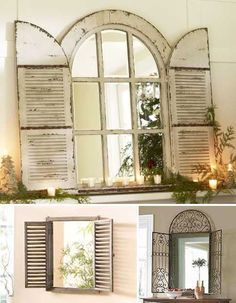 Vintage Window Shutter Decor | ... wooden, and metal window mirrors, wooden mirrors frames with shutters