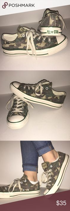 Converse All Star Low Tops These low top converse have a distressed camouflage pattern. This weathered style is not common!! These sneakers have been very well taken care of. Despite the intentional fading these converse look brand new! These sneakers are labeled for a men's size 7 and a women's size 9 but these fit me well and I am typically an 8.5. I ordered these online for $58 and are listing them for $35. Pricing is negotiable just LMK! Thank you for visiting my closet! Converse Shoes…