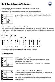 Ein weiterer Akkord: E-Dur plus zwei Variationen für E7.
