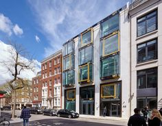 Brimelow McSweeney Architects - Whitfield Street, Fitzrovia, London - New Bay Windows, Art Print, Spandrel Panel, BT Tower Reflection, Pre-Raphaelite Painting by Andy Stagg