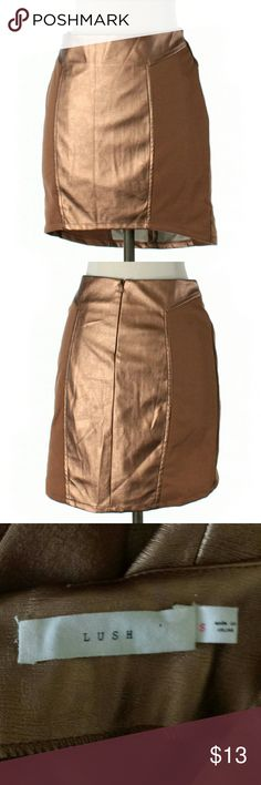 Lush Metallic Bronze Faux Leather Skirt Size S  Length 18in  Retail is $36  Would look stunning with some tall black boots!   #metallic #fauxleather #miniskirt #hip #bronze #mini #skirt #bling #sparkly #shiny #lovethecolor #fun #spring #summer #nightout #datenight #party #dancing #clubbing #rave                            M2 Lush Skirts High Low