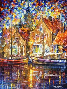 """Old ships"" by Leonid Afremov ___________________________ Click on the image to buy this painting ___________________________ #art #painting #afremov #wallart #walldecor #fineart #beautiful #homedecor #design"