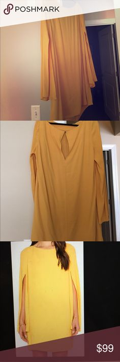 Free People Cape Dress Out of stock online! Only worn once. Sun yellow. Super flattering. Free People Dresses Long Sleeve
