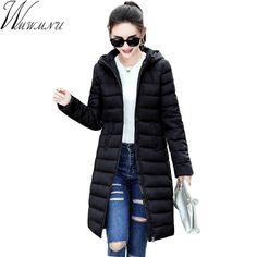 2017 Autumn/Winter Long Cotton Women's Coats With Hood