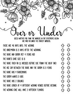 Over or Under . Over or Under Bridal Shower Games . Over or