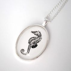 Seahorse Nautical Silver Pendant Necklace for $35.00 at etsy.com