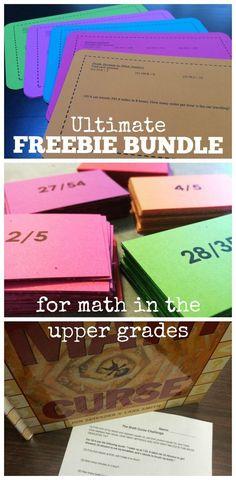 This FREEBIE Bundle includes all current and future free products from my TpT Store! Lots of great math center activities, math games, and projects for math in the upper elementary and middle school grades! Includes Math Task Cards, Math Enrichment Task Cards, Connect Four: Multiplying Decimals, Equivalent Fraction Memory game, and more!