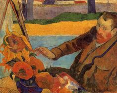 Portrait of Vincent van Gogh Painting Sunflowers, 1888, Paul Gauguin