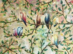 Small Canvas Paintings, Animal Paintings, Oil Paintings, Eye Painting, Oil Painting On Canvas, Spring Birds, Bird Art, Beautiful Paintings, Lovers Art