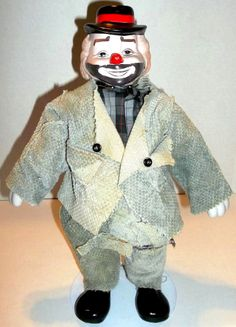 "VIintage Collectible Clown Hobo Doll Porcelain Head Feet Hands 14"" Tall"